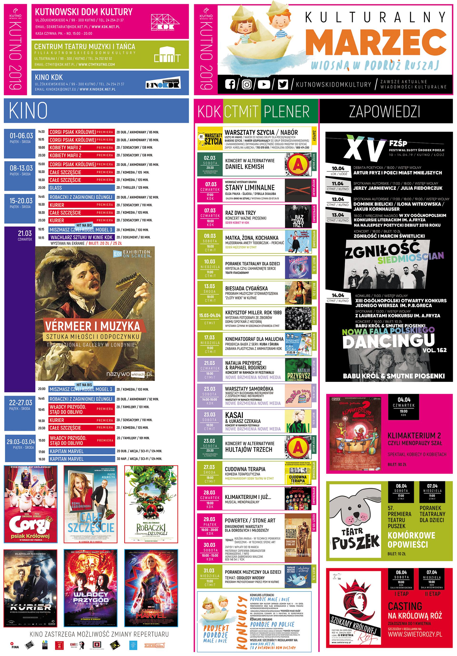kalendarz kulturalny KDK marzec 2019