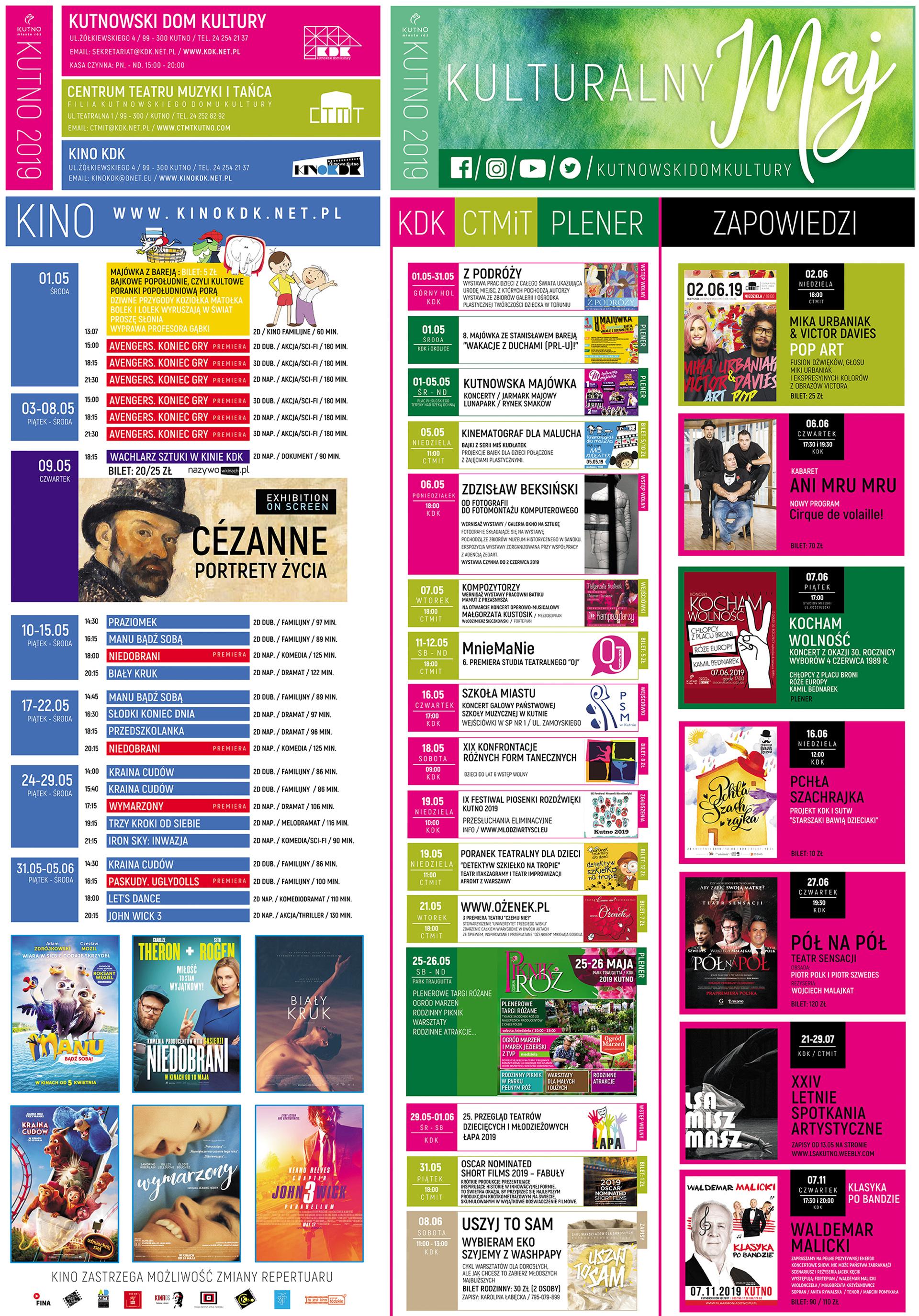 kalendarz kulturalny KDK maj 2019