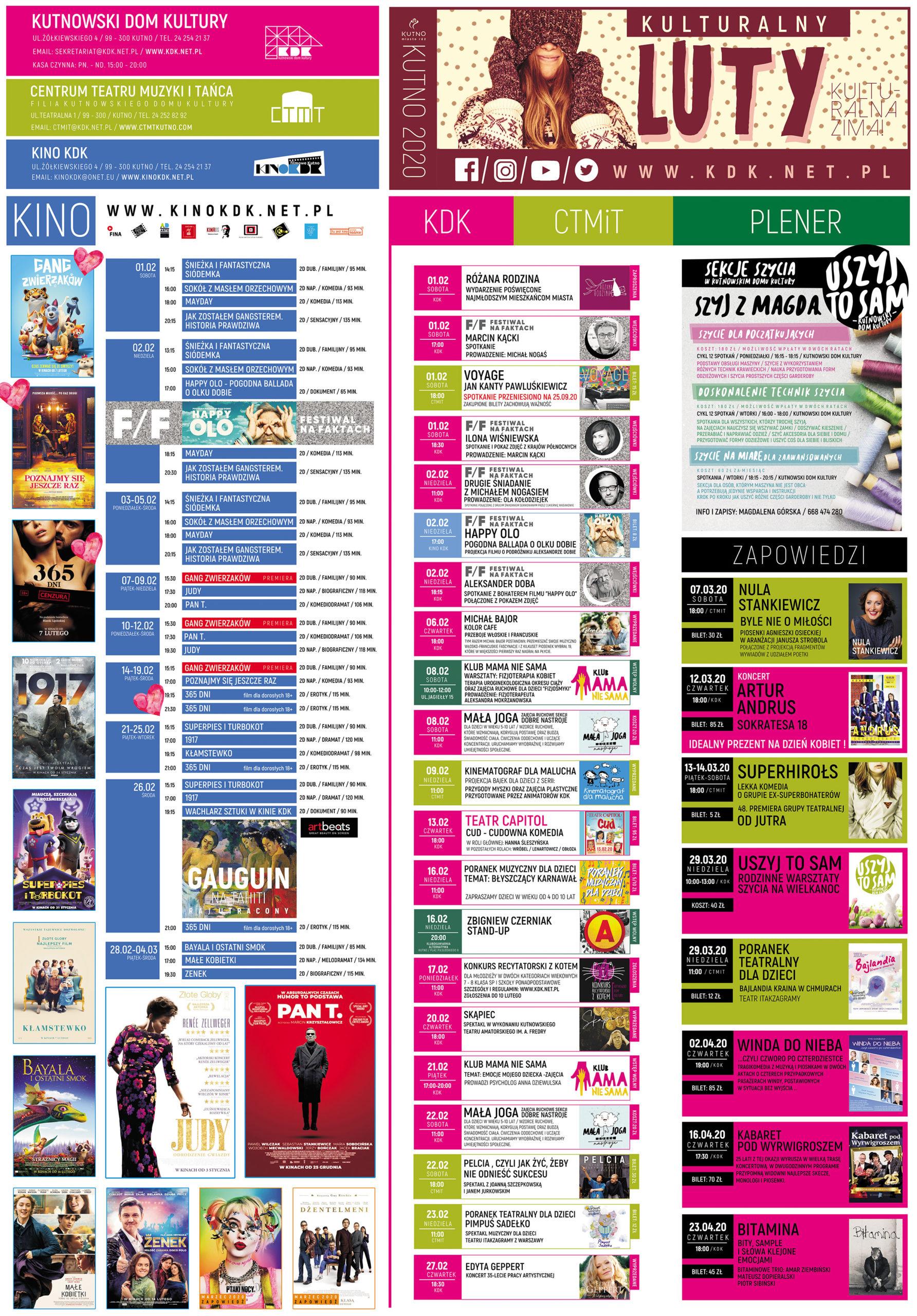 Kalendarz Kulturalny Luty 2020