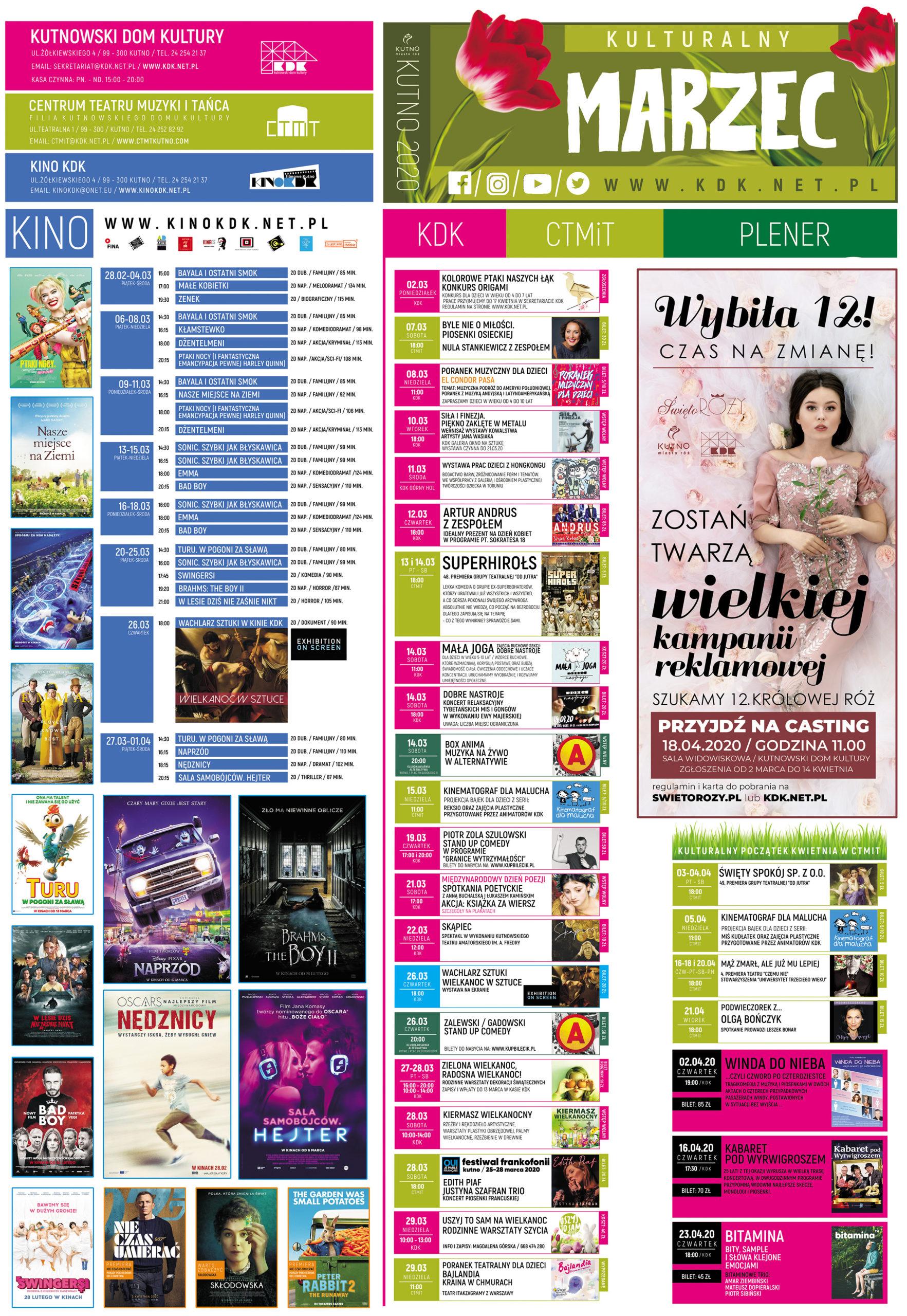 Kalendarz kulturalny KDK marzec 2020